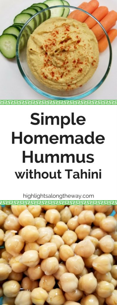simple homemade hummus without tahini Pinterest image